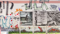 berlin wall trail at bernauer strasse, historic photographs