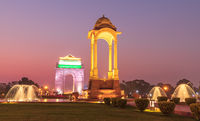 Canopy and the India Gate in New Delhi, India, night view