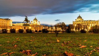 Night landscape with view to Heldenplatz, Heroes' Square in Vienna.