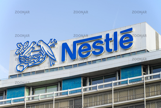 Nestlé logo at the headquarters in Frankfurt