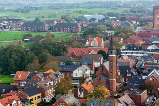View on the town Borkum from above