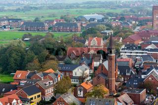 Blick auf Borkum Stadt von oben
