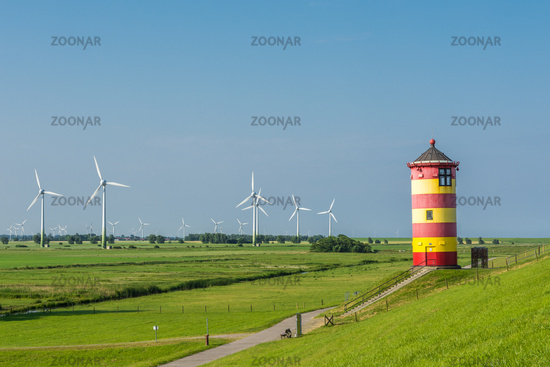 Pilsum Lighthouse with Wind Turbines, North Sea, East Frisia, Germany