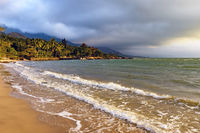 Deserted and paradisiacal beach on the island of Ilhabela