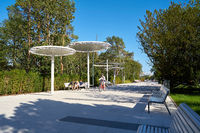 popular beach promenade in the port city of Swinoujscie on the Polish Baltic coast