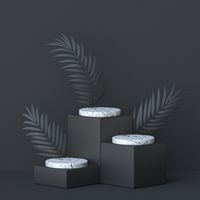 Abstract background three palm leafs and white marble cylinder 3D