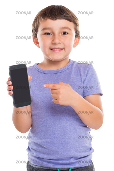 Young boy child pointing at smartphone smart cell phone cellphone marketing ad advertising isolated on white