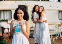 Beautiful african american female portrait during picnic beside her camper van