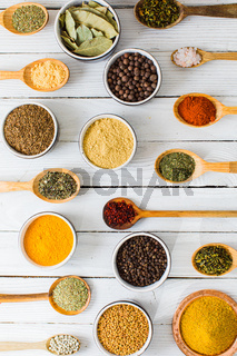 Collection of spicy condiments in spoons and bowls