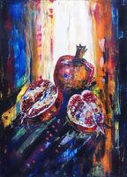 Pomegranate in solar  morning light