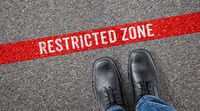 Red line on asphalt - Restricted zone