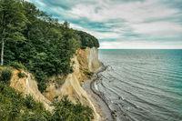 Chalk cliffs Wissower Klinken  on the baltic sea island Ruegen