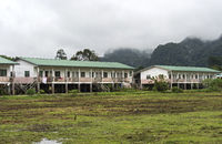 residential buildings of a resettlement project for the indigenous Penan people, Sarawak, Malaysia
