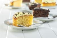 Piece of lemon cake on dessert plate