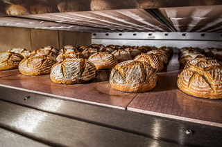 Industrial production of traditional rye bread baking in electric oven