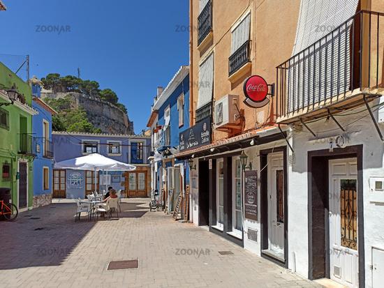 Charming street and Denia castle view. Costa Blanca, Spain