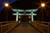 Night view on bridge from Take Island to Gamagori, Japan