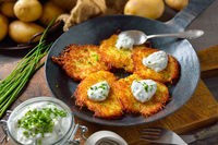 Potato pancakes with chives quark