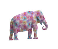 Elephant with flowers isolated on white background