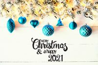 Turqouise Christmas Decoration, Fir Branch, Merry Christmas And Happy 2021