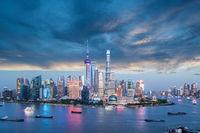 charming shanghai skyline in twilight