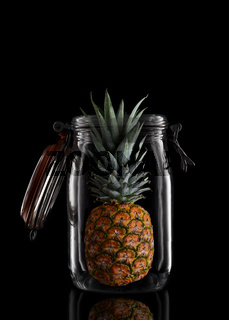 A whole Pineapple in a glass storage or canning jar isolated on black with reflection, with lid open.