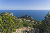 Top view of a mountain peak. Crimea.