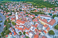 Town of Novi Vinodolski historic center aerial view