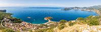 Sveti Stefan aerial panorama, Budva region, Montenegro