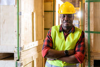 Portrait of Afican Black warehouse worker.