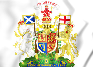 3D Royal Coat of Arms of the United Kingdom (Scotland). 3D Illustration.
