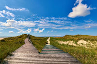 Amrum - boardwalk to the beach and the view point in the dunes of Norddorf