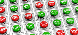 Many Start and Stop Buttons on White