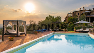 Luxury country house with swimming pool in Italy, Couple on Vacation at luxury villa in Italy,