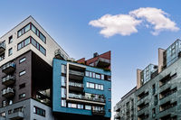 Cityscape of contemporary apartment buildings against sky