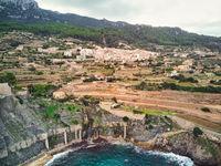 Picturesque cove and Mediterranean Sea of Banyalbufar village. Mallorca, Spain