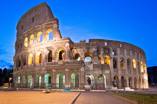 Rome. Empty Colosseum square in Rome evening view, the most famous landmark