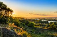 Sunset on the Oka river in the village Konstantinovo - Russia