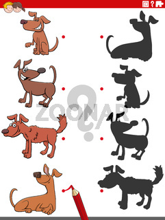 shadow game with comic dogs characters