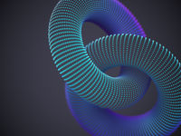 Linked 3D torus made up of glowing particles on dark background.