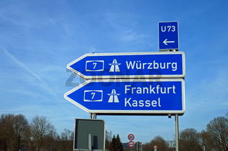 autobahnschild, würzburg, frankfurt, kassel, u73, a7