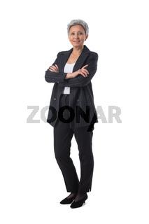 Asian business woman portrait on white