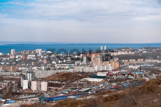 Vladivostok, Russia - 24 March, 2019: View from the hill Refrigerator