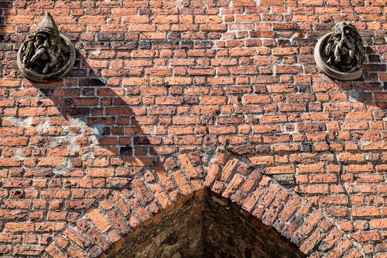 Bernau bei Berlin, Germany - 04/30/2019 - Detail at the medieval stone gate