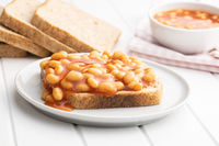 Toast bread with baked beans.