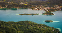 View from Pyramidenkogel tower of the Lake Worthersee in Austria