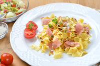 Hearty Austrian pasta meal with ham
