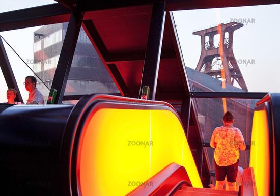 illuminated gangway with the head frame of the Zeche Zollverein Schacht XII, Essen, Germany, Europe