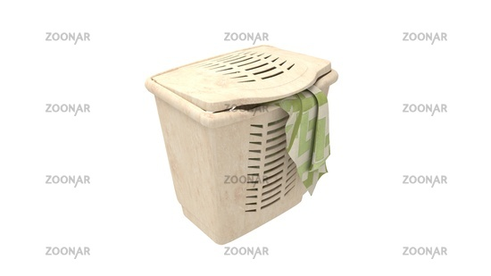3D rendering of a laundry basket household clothes washing isolated in