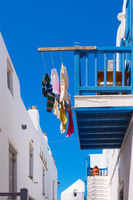Balcony with airing clothes in Mykonos